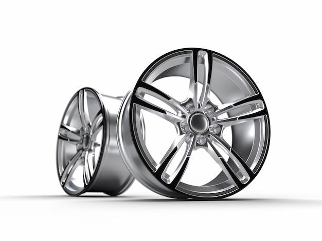 Automóvel, disco de alumínio. isolado na parede branca ilustração de renderização 3d.