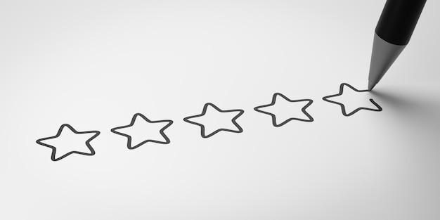 Avaliação de cinco estrelas, conceito de satisfação