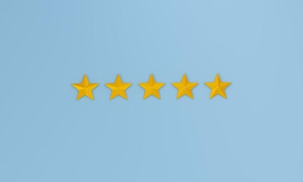 Avaliação de cinco estrelas do conceito de experiência sobre fundo azul. renderização 3d.