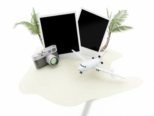 Avião 3d, câmera e fotos. conceito de viagens.