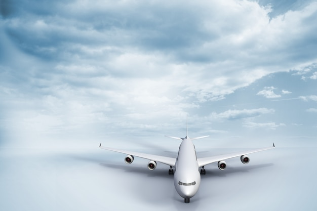 Avião 3d em pé no chão branco