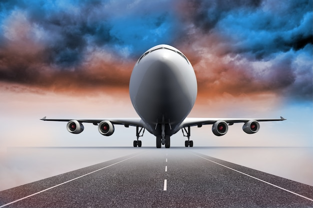 Avião 3d que está sob o céu colorido na pista de decolagem