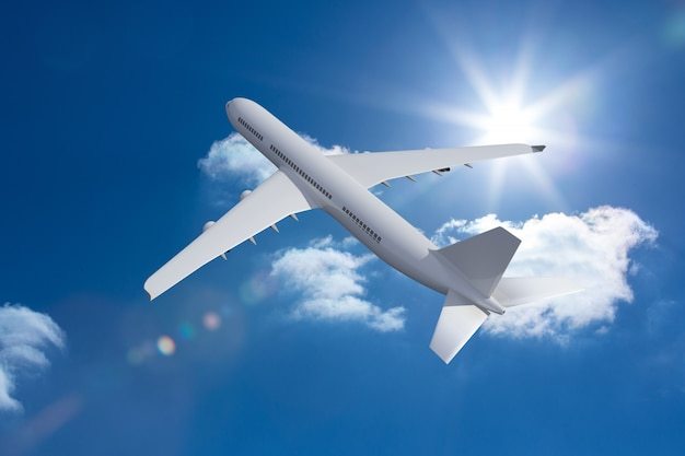 Avião 3d voando no céu