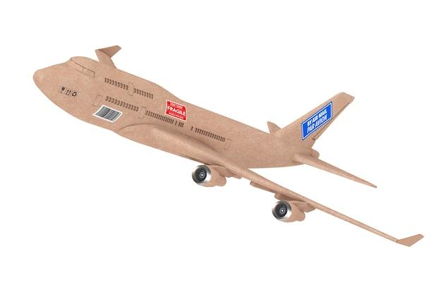 Avião a jato comercial de entrega de carga industrial como caixa de pacote em um fundo branco. renderização 3d
