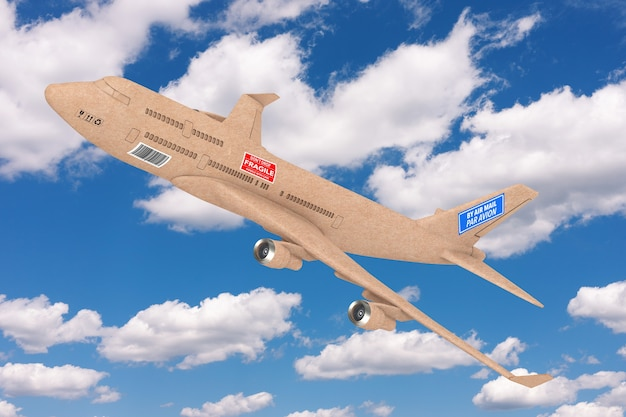 Avião a jato comercial de entrega de carga industrial como caixa de pacote em um fundo de céu azul. renderização 3d
