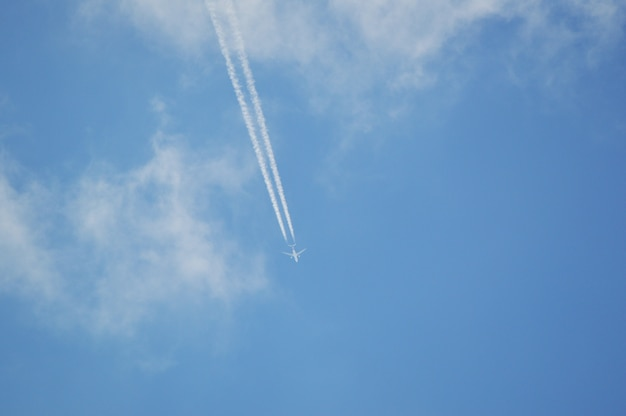 Avião a jato voando o céu azul