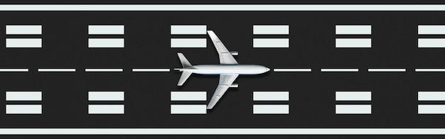 Avião abstrato se preparando para decolar na pista.