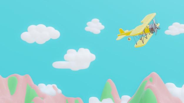Avião amarelo está voando.