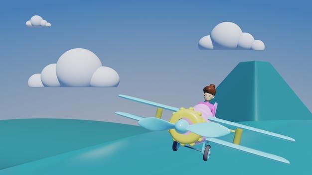 Avião com nuvens e fundo de montanha