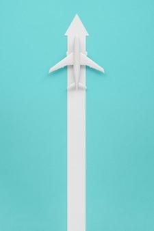 Avião com seta para direção