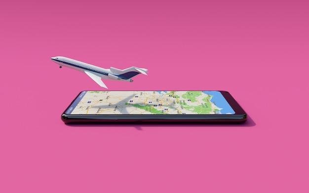 Avião comercial decolando da tela do smartphone (reserva de passagens online)
