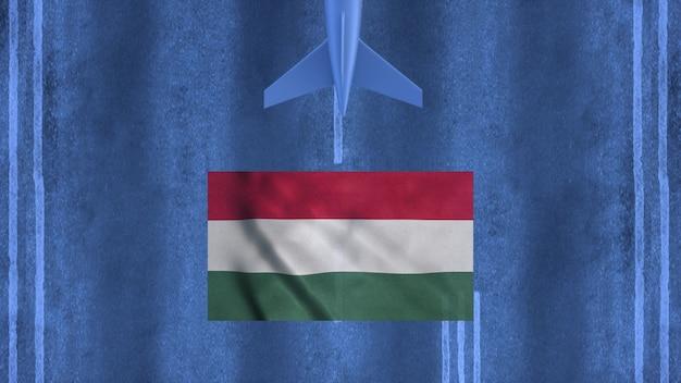 Avião comercial pousando no aeroporto da hungria. vista aérea de um avião de pouso no campo de aviação. conceito de viagens da hungria. renderização 3d