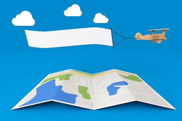 Avião de brinquedo de madeira com banner vazio sobre o mapa da cidade em um fundo azul.