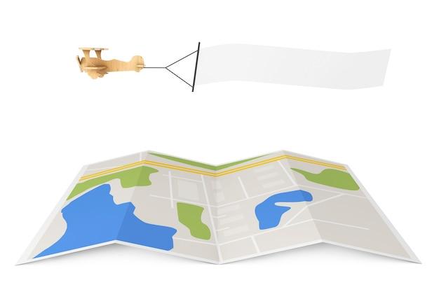 Avião de brinquedo de madeira com banner vazio sobre o mapa da cidade em um fundo branco. renderização 3d
