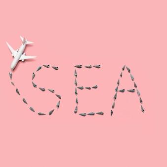 Avião de brinquedo e companhia aérea em forma de mar de palavra