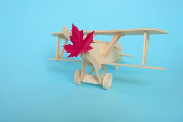 Avião de brinquedo pequeno com folha de outono. conceito outono