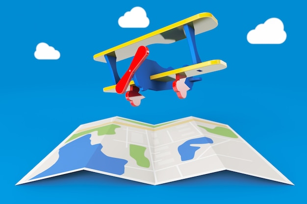 Avião de brinquedo sobre o mapa da cidade em um fundo azul. renderização 3d