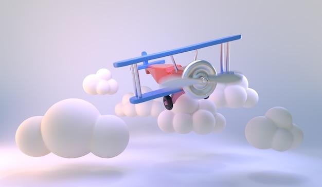 Avião de brinquedo voar no fundo da sala branca. formas mínimas de nuvens. luz de fundo pastel azul para promoção de produtos. ideia mínima. 3d render.