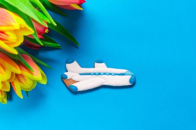 Avião de gengibre com tulipas em azul