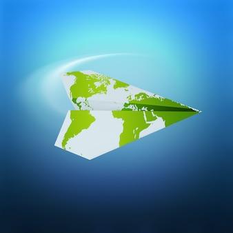 Avião de papel com mapa-múndi no conceito de viagens de fundo azul