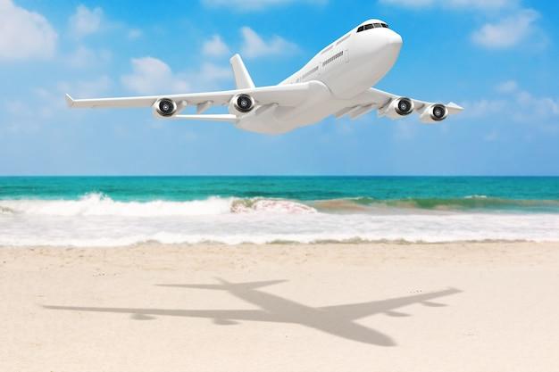 Avião de passageiro de jato branco sobre closeup extrema de costa deserta do oceano. renderização 3d