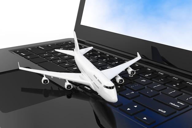 Avião de passageiro de jato branco sobre closeup extrema de teclado de computador portátil moderno. renderização 3d.