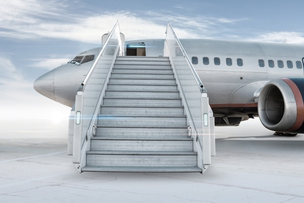 Avião de passageiros com escada de embarque no avental do aeroporto isolado em um fundo brilhante com o céu