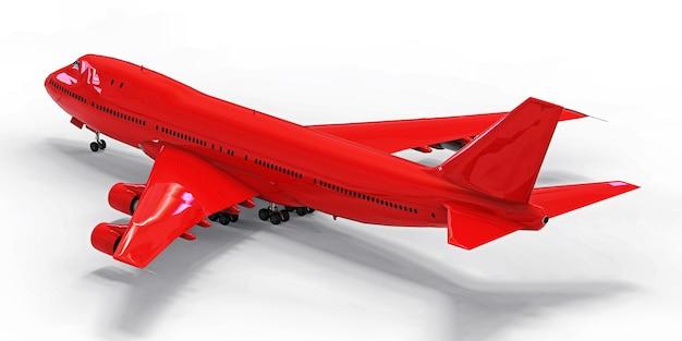 Avião de passageiros de grande porte para voos transatlânticos longos. avião vermelho sobre fundo branco isolado. ilustração 3d.