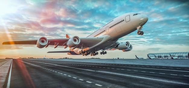 Avião decolando do aeroporto. renderização 3d e ilustração.