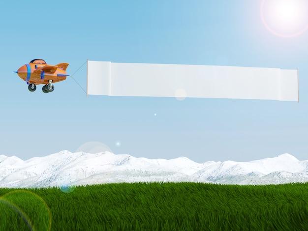 Avião dos desenhos animados, voando com banner de publicidade sobre o campo de grama, renderização em 3d