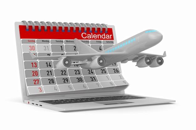 Avião e calendário isolados em ilustração 3d branca