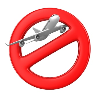 Avião e sinal proibido no espaço em branco