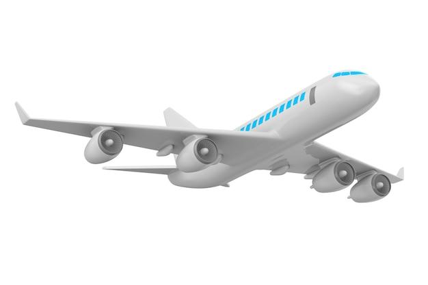 Avião isolado em ilustração 3d branca Foto Premium