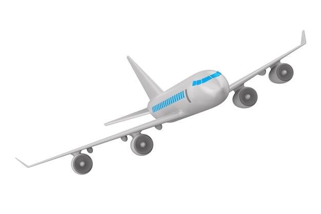 Avião isolado em ilustração 3d branca