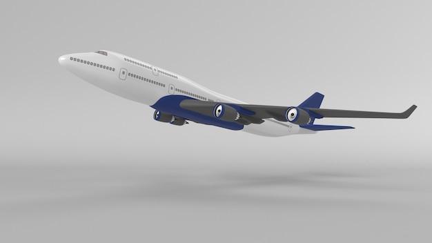 Avião isolado em parede em branco