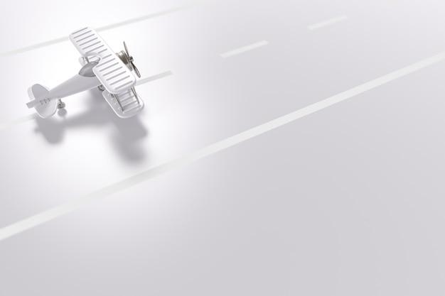 Avião na pista em branco com espaço de cópia