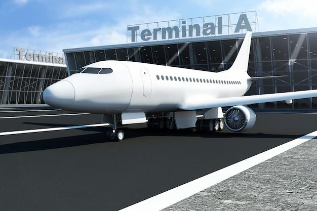 Avião no aeroporto espera perto do terminal