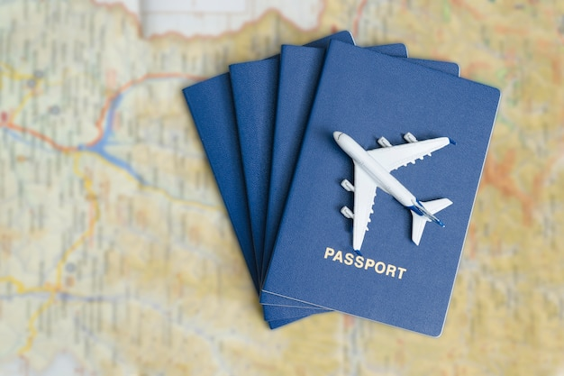 Avião nos passaportes azuis.