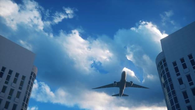 Avião sobrevoa arranha-céus