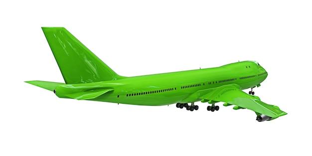 Avião verde sobre fundo branco grande avião de passageiros para longos voos transatlânticos