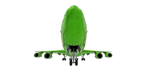 Avião verde sobre fundo branco isolado. grande avião de passageiros de grande capacidade para longos voos transatlânticos. ilustração 3d.