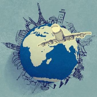 Avião viajando ao redor do mundo