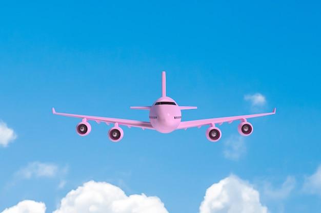 Avião voando cor-de-rosa mock-up