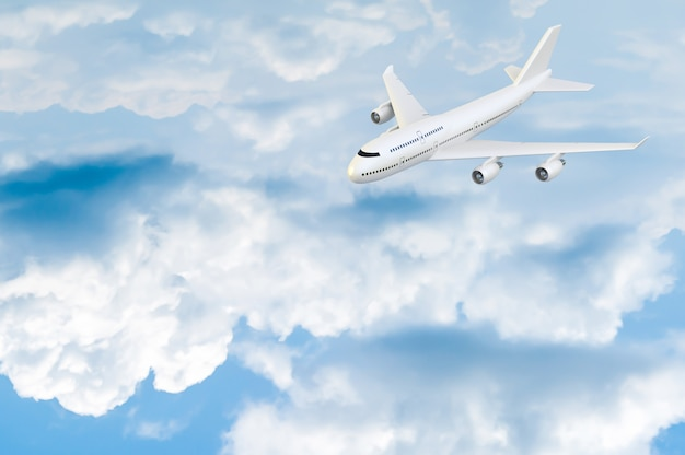 Avião voando mock-up no céu azul