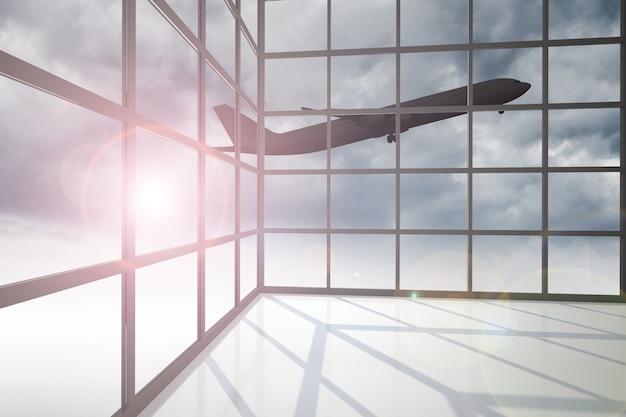 Avião voando pela janela