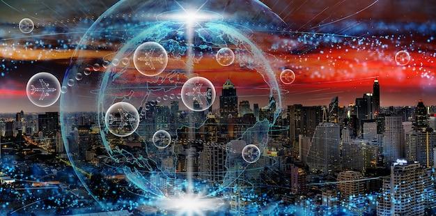 Aviões em bolha entre voando entre dois países através de partículas abstratas da rede global