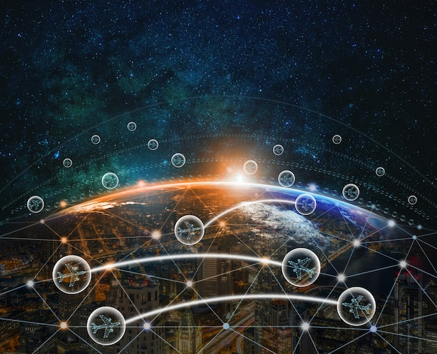 Aviões em bolha voando entre dois países por tecnologia digital