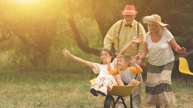 Avó e vovô estão empurrando seus netos em um carrinho de mão