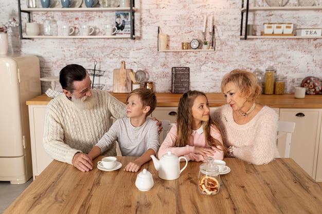 Avós a passar tempo com os netos