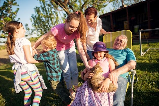 Avós se divertindo com seus netos no quintal em dia ensolarado.